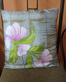Úžitkový textil - Hodvábny vankúšik Magnolie - 8505477_