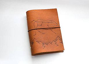 Papiernictvo - Kožený zápisník - karisblok súhvezdie veľká medvedica/veľký voz - 8504113_