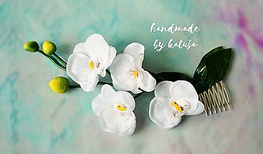 Ozdoby do vlasov - tiara orchidea snehobiela - 8503179_