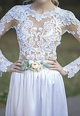 Opasky - Svadobný kvetinový opasok - 8504419_