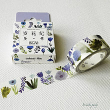 Papier - papierová washi páska Modrá lúka (15 mm x 7 m) - 8502933_