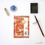Kotobuku v červenom - japonská pohľadnica s tradičným Washi papierom a japonským znakom pre