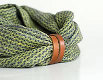 Doplnky - Zelenomodrý elegantný nákrčník z ľanu s remienkom - 8505558_