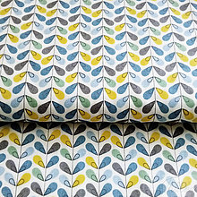 Textil - modré lístky; 100 % bavlna Nemecko, šírka 140 cm, cena za 0,5 m - 8505804_