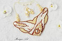 Náhrdelníky - Biely shibori náhrdelník + darček - 8503801_