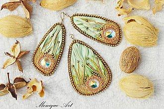 Sady šperkov - Zelená shibori sada - 8503821_