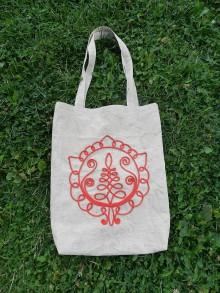 Nákupné tašky - Ľanová nákupná taška - Cifrovaný kvietok - 8503767_