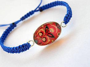 Náramky - modro-cerveny folk - 8505745_