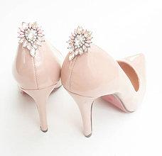 Obuv - Ružovo-zlaté kamienkové štrasové brošne - klipy na topánky - 8503007_