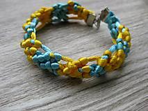 Náramky - Pletený náramok modro žltý č.1208 - 8504690_