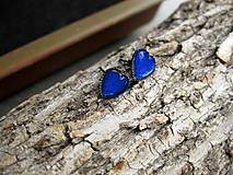 Náušnice - Srdiečka mini napichovačky - akrylové (Tmavo modré  č.1209) - 8504727_