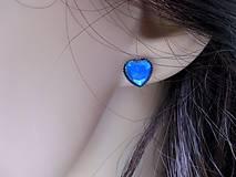 Náušnice - Srdiečka mini napichovačky - akrylové (Tmavo modré  č.1209) - 8504730_