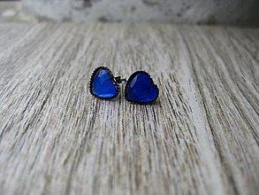 Náušnice - Srdiečka mini napichovačky - akrylové (Tmavo modré  č.1209) - 8504725_