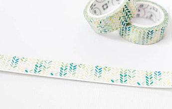 """Papier - WASHI / papierová páska na tvorenie """" malírované lístočky """" - 8503962_"""