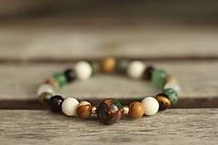 Náramky - Náramok z minerálov jaspis, achát, koral, tigrie oko, tyrkys - 8503455_