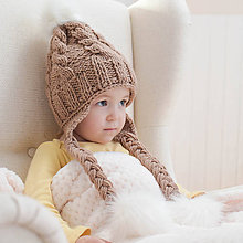 Detské čiapky - Zimná pletená ušianka ...