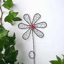 Dekorácie - zápich kvet červený - 8509247_