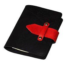 Papiernictvo - PRAKTIK A6 kožený karisblok čierny s červenými doplnkami - s týždenným kalendárom na rok 2018 - 8508155_