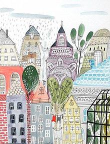 Obrazy - Mesto v daždi - ilustrácia obraz / originál maľba - 8507650_