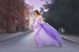 Tehotenské oblečenie - Vo vetre vejúce siluetkové šaty - 8506545_
