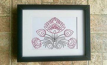 Obrazy - Vyšívany obraz s motívom kvetov - 8508701_