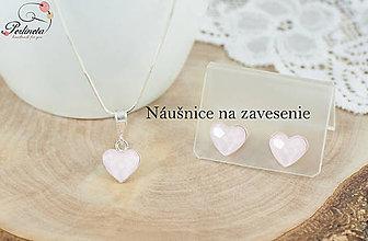 Sady šperkov - Mini srdiečka_Powder Rose ---> s visiacimi náušnicami - 8507251_