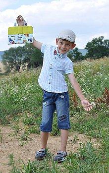 Detské tašky - Set pastelkovníka s motýlikom z látok na želanie - 8507207_