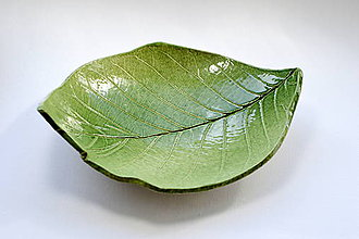 Nádoby - Keramická miska Lístok tmavozelený - 8506928_