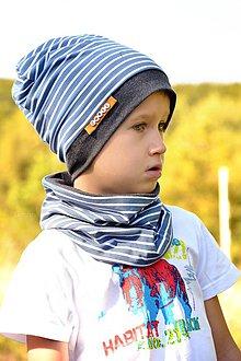Detské súpravy - Bavlnený set s menom prúžky & modrá - 8506152_