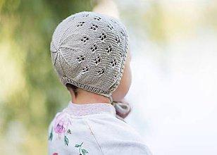 Detské čiapky - Pletená detská čiapka - béžovo-sivá - 8508261_