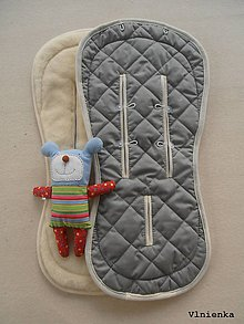 Textil - Bugaboo Seat Liner GREY fabric/ Podložka do kočíka pastelová sivá šedá Elegant prešitie na mieru - 8509991_