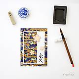 Papiernictvo - Eikyuu - Navždy pohľadnica s japonským tradičným washi papierom a kaligrafiou - 8509639_