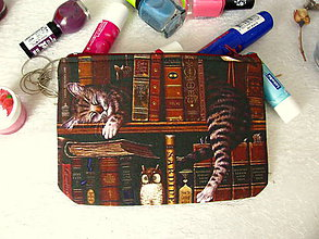 Taštičky - Taštička na mobil - kočka v knihovně - 8511297_