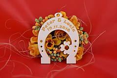 Darčeky pre svadobčanov - Svadobná podkovička pre šťastie 3 - 8510333_
