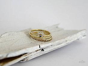 Prstene - 585 / 14k zlatý komplet prsteňov s prírodným modrým zafírom - 8512618_