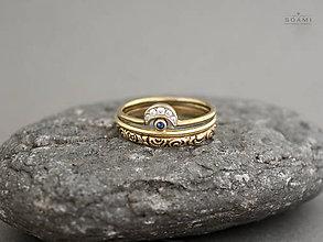 Prstene - 585 / 14k zlatý komplet prsteňov s prírodným modrým zafírom - 8512619_