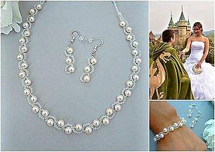 Sady šperkov - Perlová svadobná súprava pre nevestu biela alebo krémová ( Swarovski )*Grace* - 8512035_