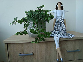 Bábiky - Šedo-biela anjelka - 8513465_