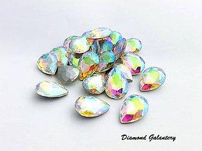 Galantéria - Ozdobné kamienky 13x18 mm - sklenené - AB Crystal - 8512846_