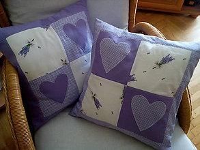 Úžitkový textil - fialové vankúše s levanduľou - 8512061_