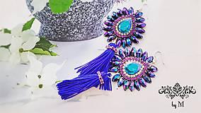 Náušnice - fialovo modré náušnice Plum - 8514023_