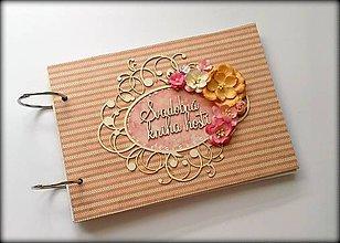 Papiernictvo - Vintage scrapbook svadobná kniha hostí A5 - 8512595_