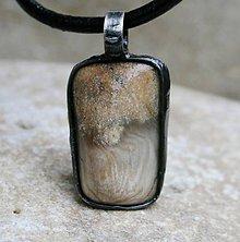 Šperky - Skamenelé drevo pánsky náhrdelník - 8513904_