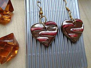 Náušnice - Náušnice Srdce medené - 8513870_