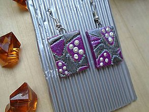 Náušnice - Náušnice kocky fialové - 8513881_