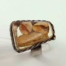 Prstene - Cínovaný prsteň - Jaspis v živici - 8515482_