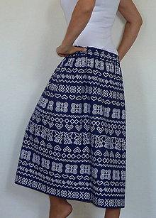Sukne - Sukňa Čičmany na modrej - 8515033_