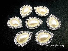 Galantéria - Štrasová slzička perličková - 13 x18 mm - 8516682_