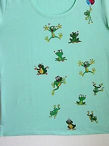 Tričká - Maľované dámske tričko, Žabky, L - 8514616_