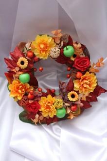 Dekorácie - Jesenný venček na dvere stredný - 8514961_